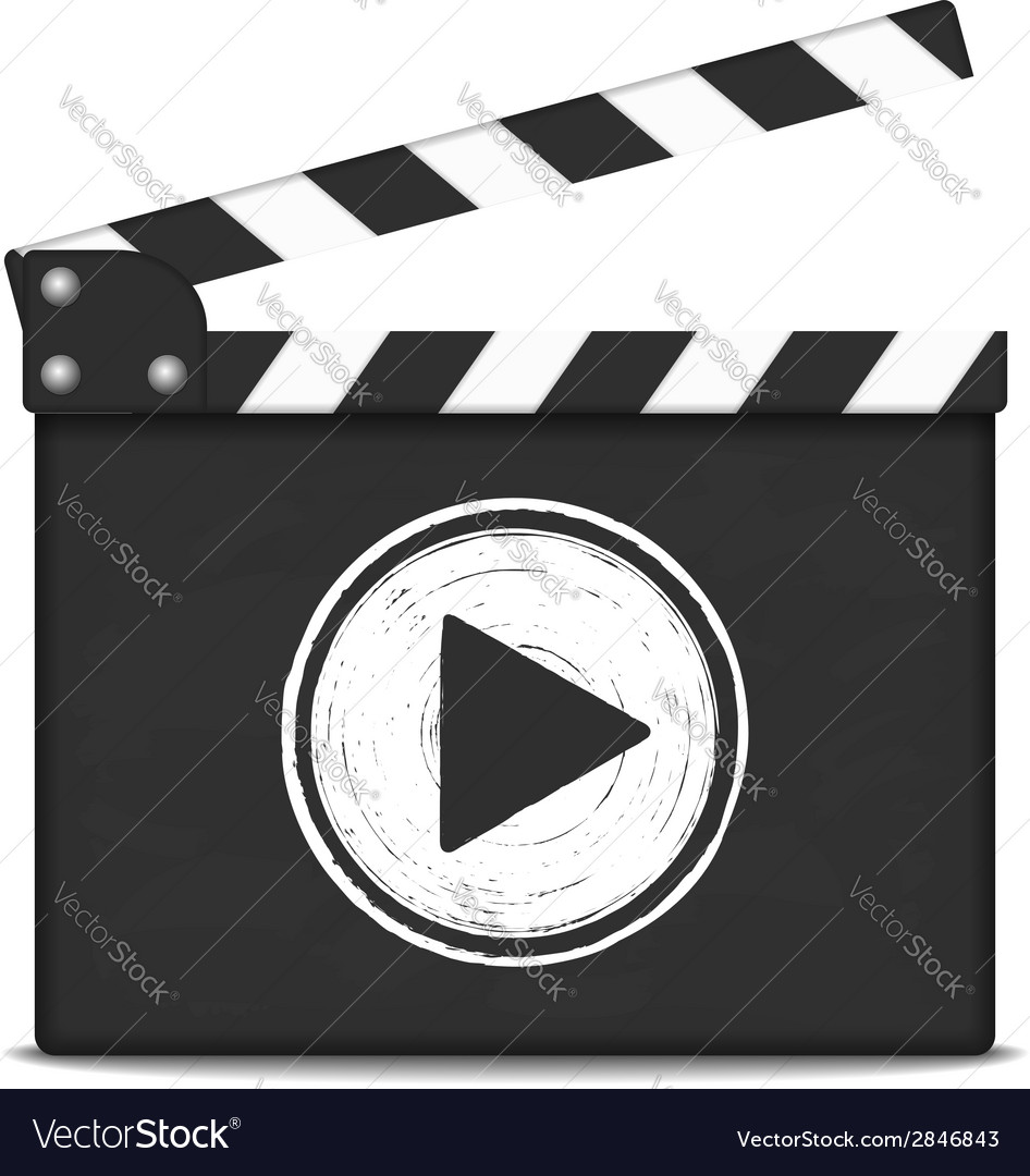 Clapper board with play button vector   Price: 1 Credit (USD $1)