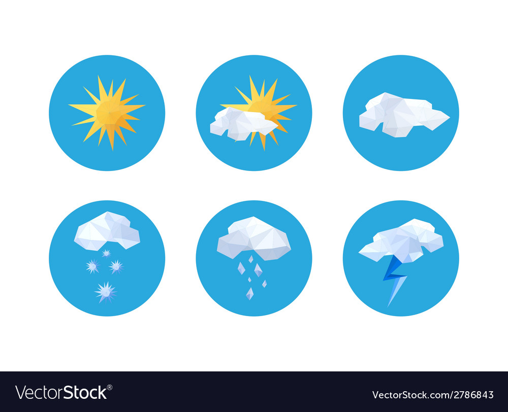 Collection of origami weather symbols vector | Price: 1 Credit (USD $1)