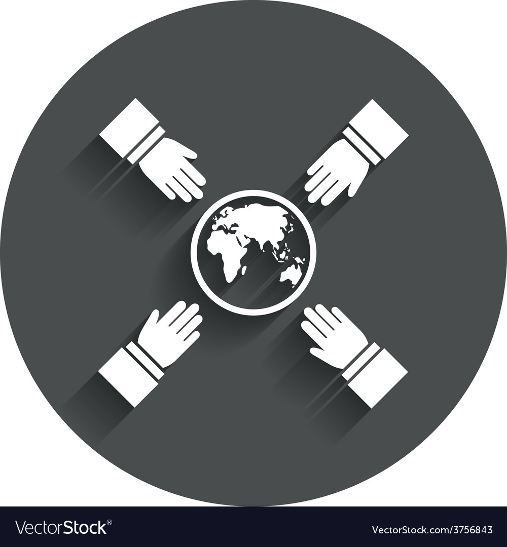 Hands reach for earth sign icon save planet vector | Price: 1 Credit (USD $1)
