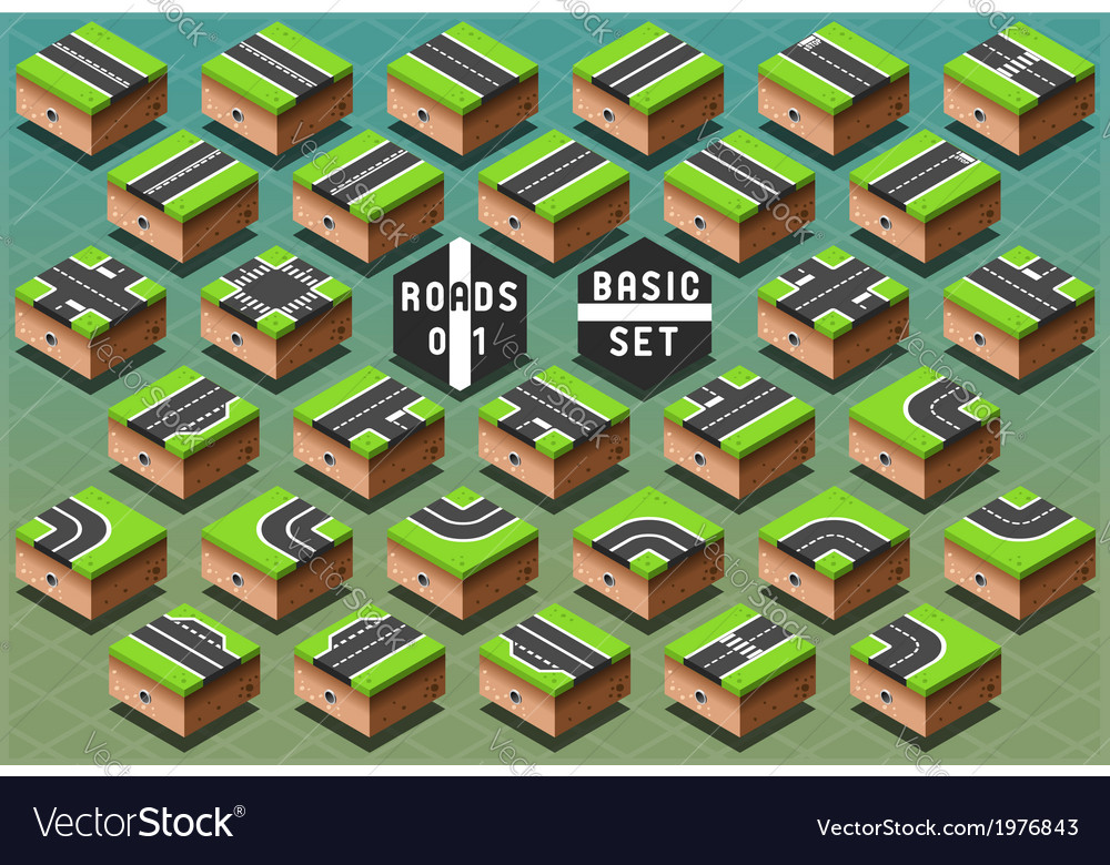 Isometric roads on green terrain vector | Price: 1 Credit (USD $1)
