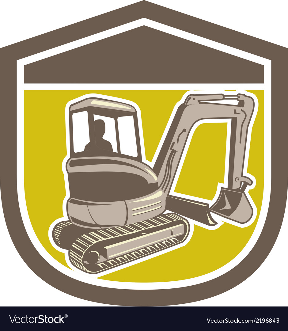 Mechanical digger excavator shield retro vector | Price: 1 Credit (USD $1)