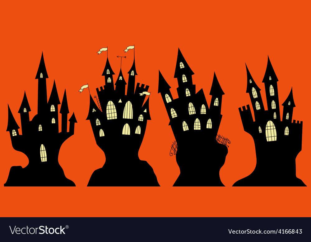 Set of halloween black castle vector | Price: 1 Credit (USD $1)