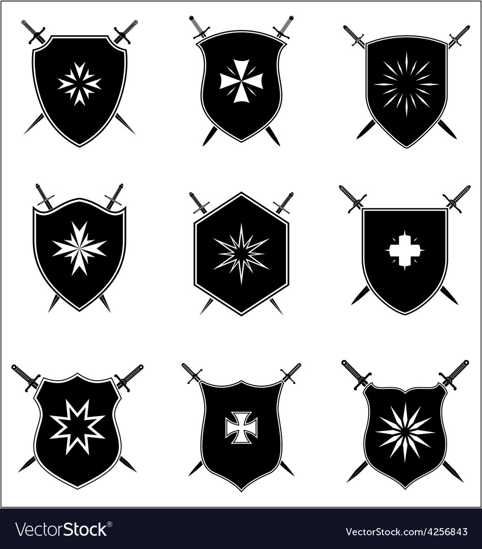 Shield with crossed sword set vector | Price: 1 Credit (USD $1)
