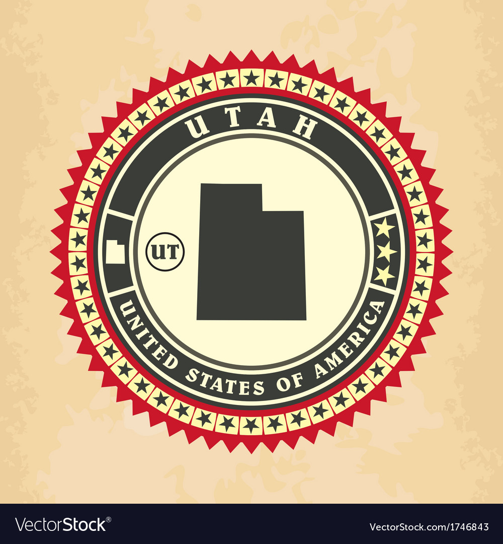 Vintage label-sticker cards of utah vector | Price: 1 Credit (USD $1)
