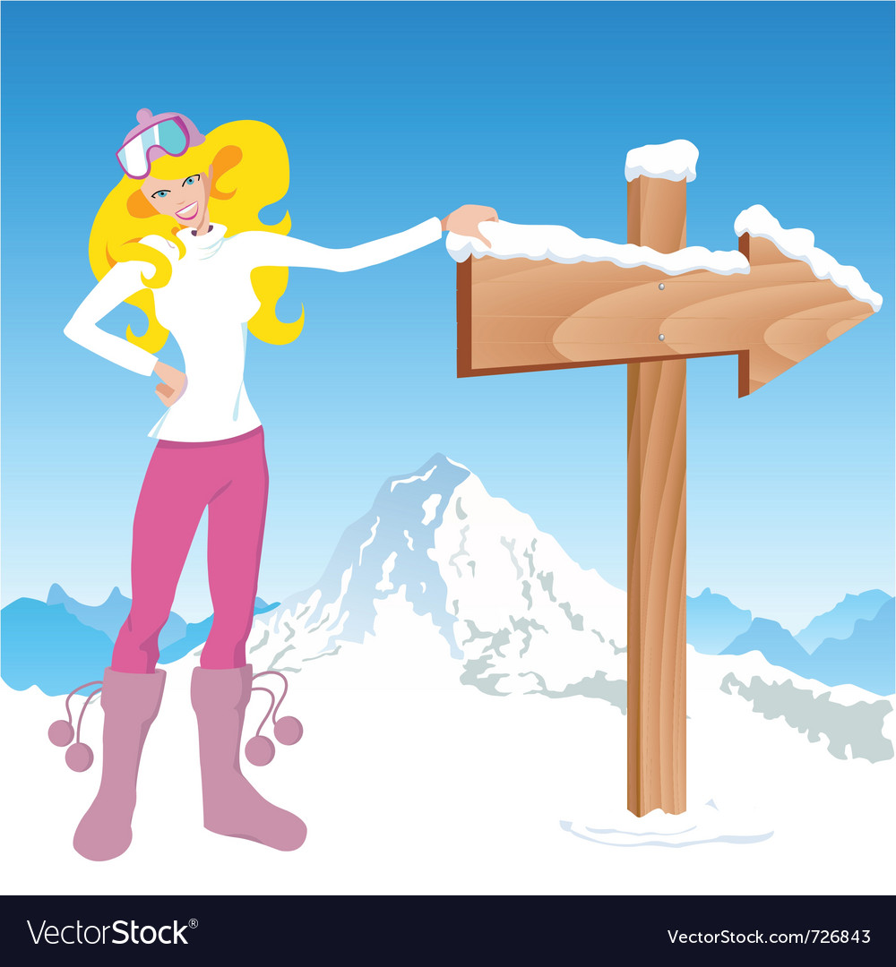 Winter girl with direction sign vector   Price: 1 Credit (USD $1)