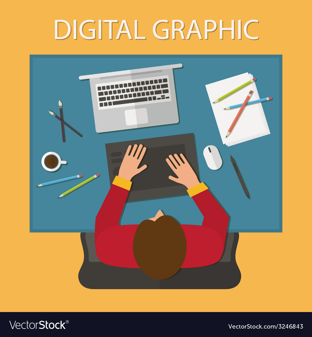 Workplace digital process laptop and graphic vector | Price: 1 Credit (USD $1)