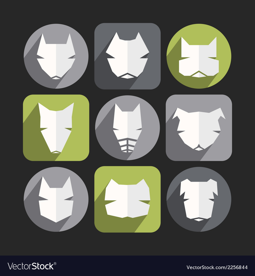 Dog icons in flat style vector | Price: 1 Credit (USD $1)