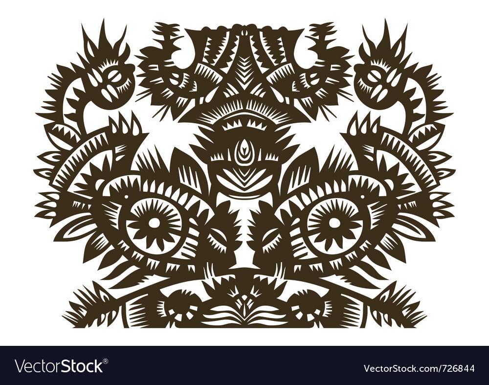 Fish and bird papercut vector | Price: 1 Credit (USD $1)
