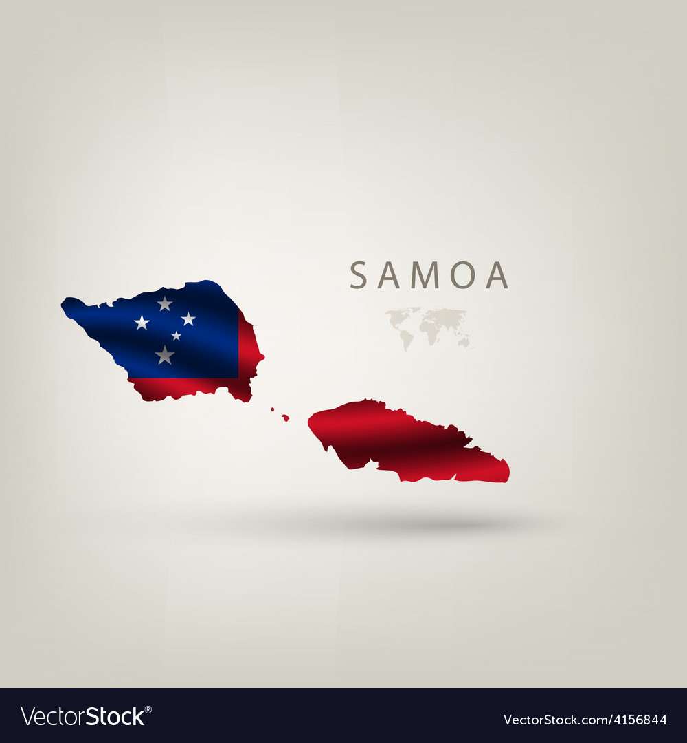 Flag of samoa as a country with a shadow vector | Price: 3 Credit (USD $3)