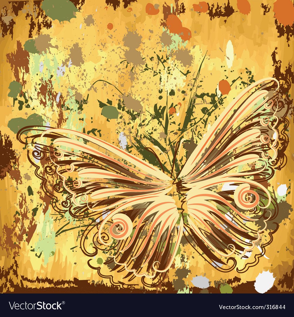 Grunge background with butterflies autumn vector | Price: 1 Credit (USD $1)