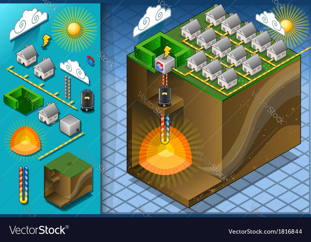 Isometric geothermal heat pump diagram vector | Price: 1 Credit (USD $1)