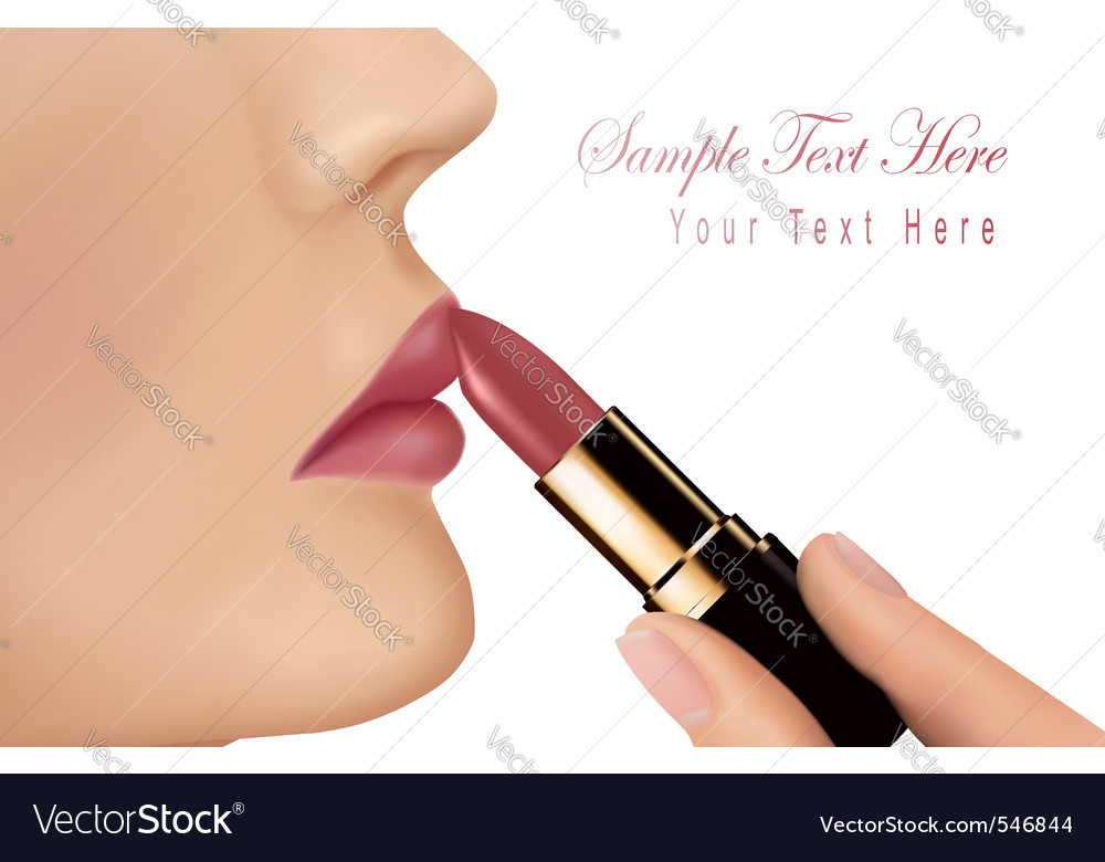 Lipstick and happy female lip vector | Price: 1 Credit (USD $1)