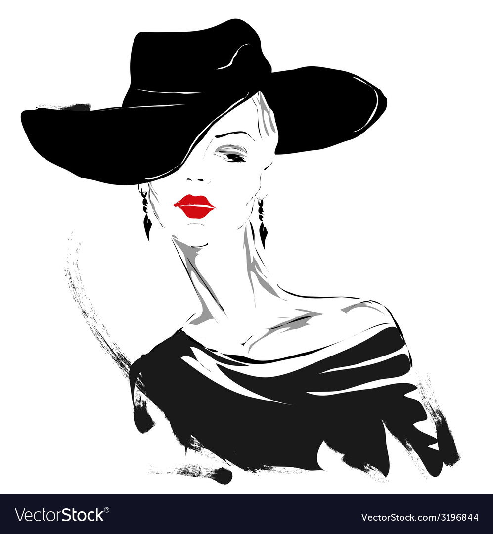 Modern girl sketch red lips white background vector | Price: 1 Credit (USD $1)