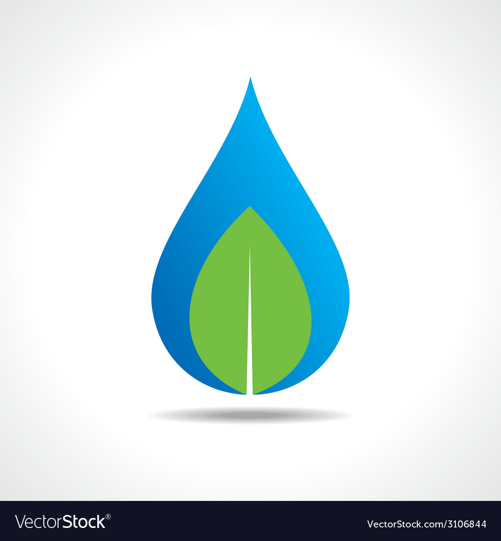 Save nature concept with waterdrop and leaf vector | Price: 1 Credit (USD $1)