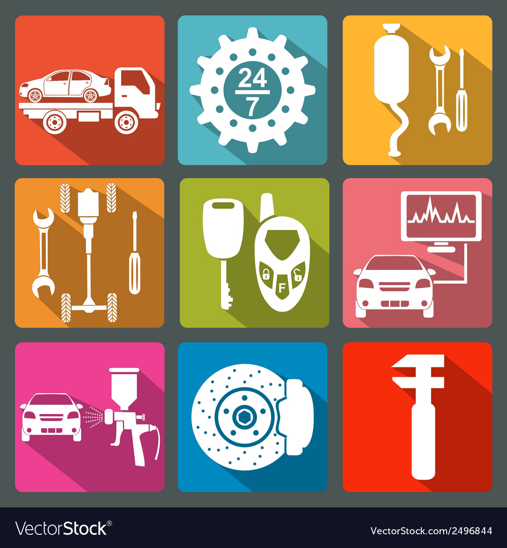 Set of car service icons vector | Price: 1 Credit (USD $1)