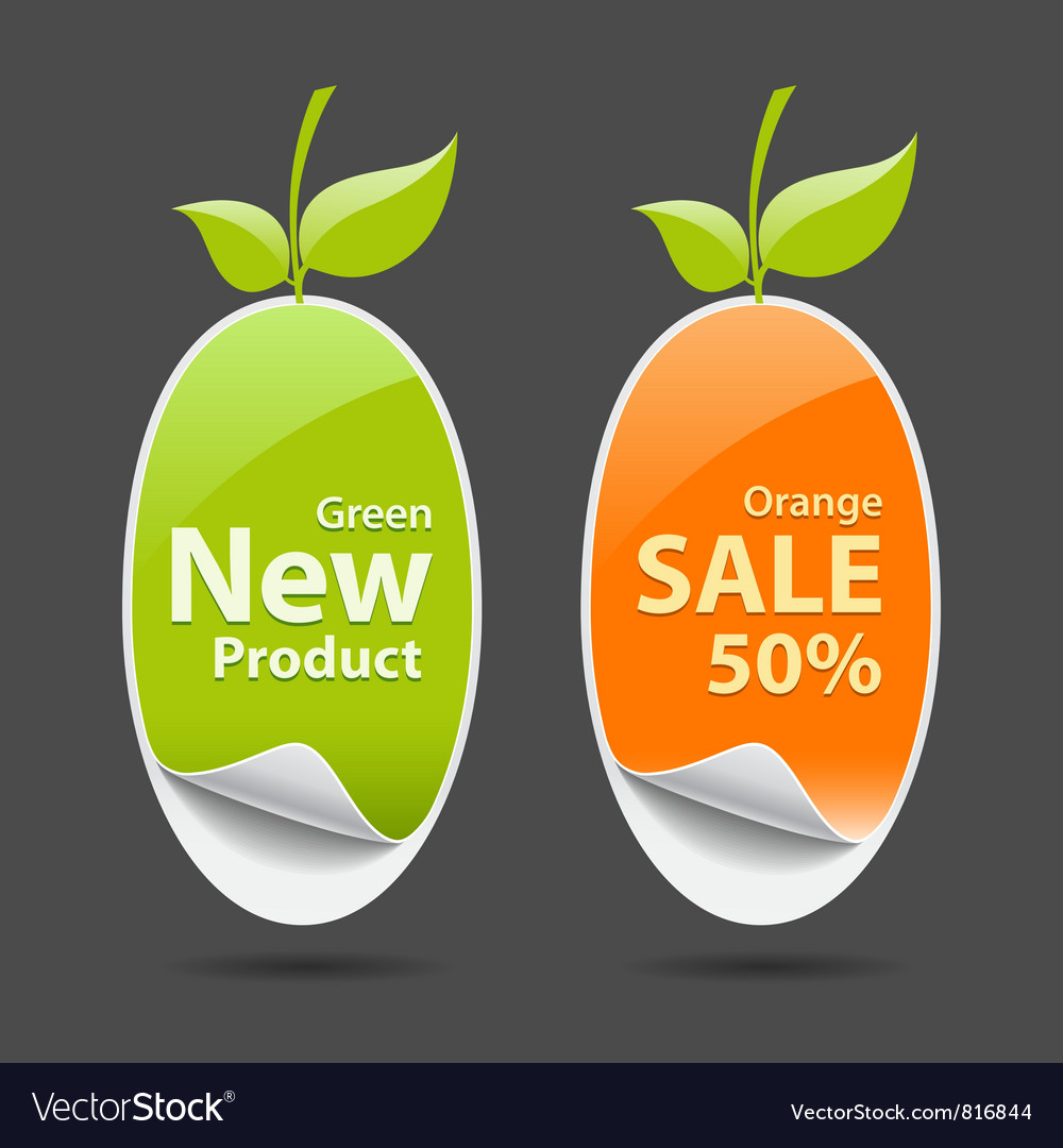 Sticker green and orange price tag vector | Price: 1 Credit (USD $1)