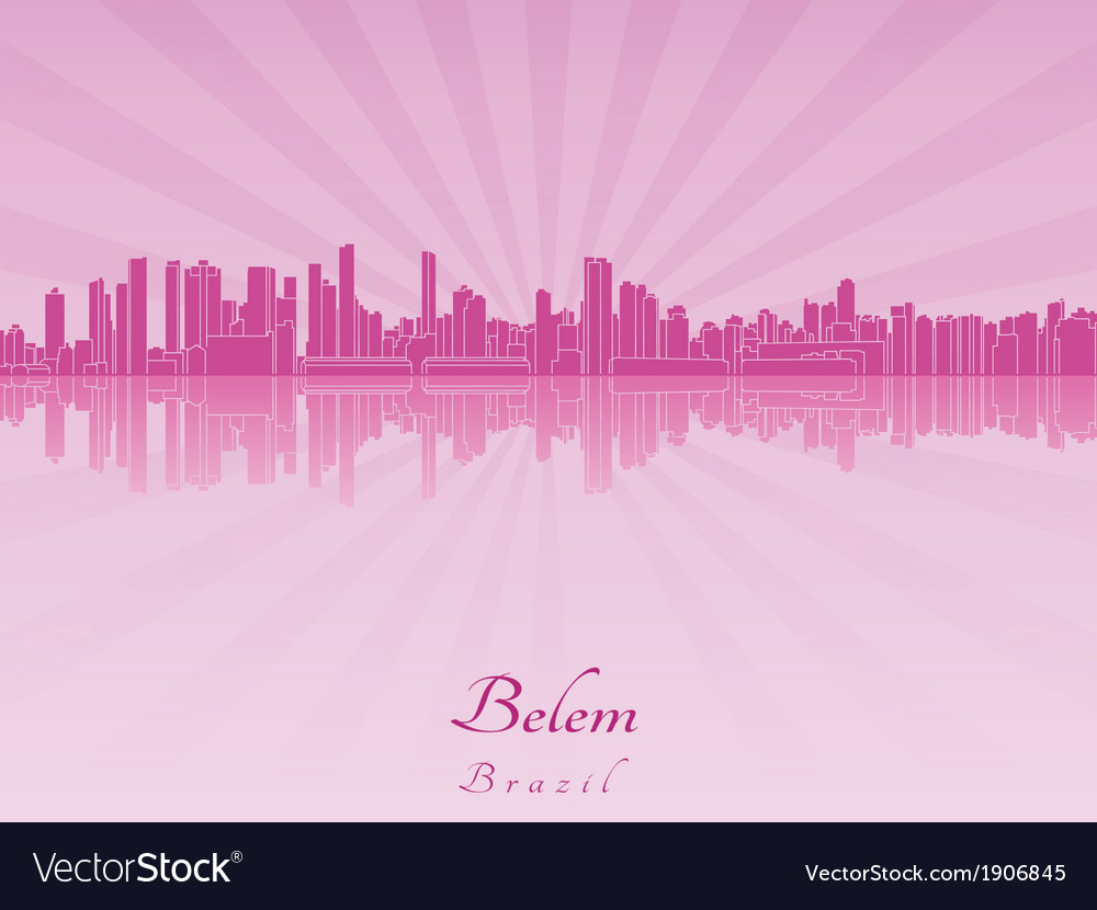 Belem skyline in purple radiant orchid vector | Price: 1 Credit (USD $1)