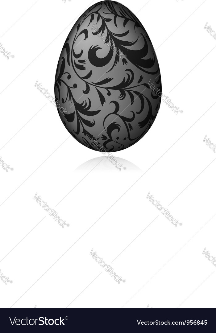 Easter egg white with floral ornament vector | Price: 1 Credit (USD $1)
