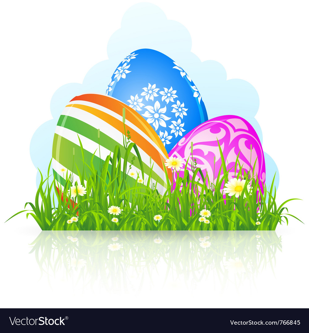 Easter eggs grass vector | Price: 1 Credit (USD $1)