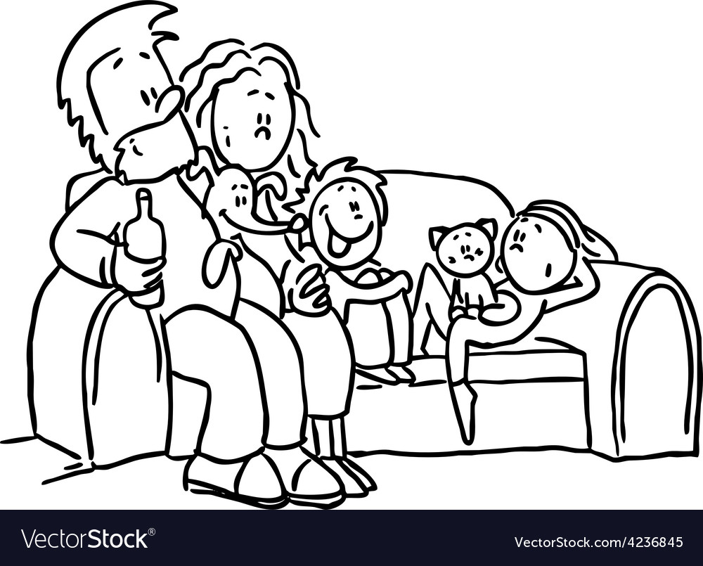 Family sitting in the seat - black line vector | Price: 1 Credit (USD $1)