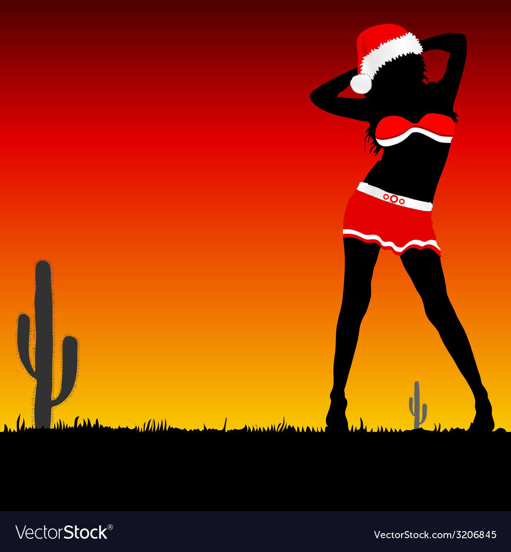 Girl with christmas hat part two vector | Price: 1 Credit (USD $1)