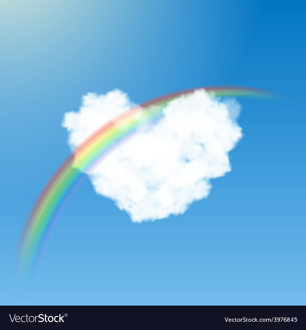 Heart shaped cloud and rainbow vector | Price: 1 Credit (USD $1)