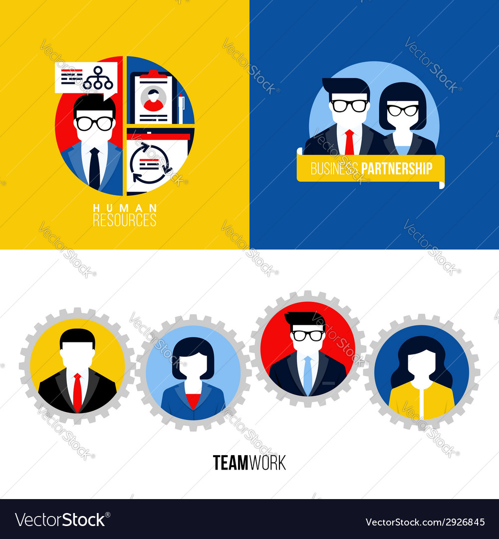 Human resources business partnership teamwork vector | Price: 1 Credit (USD $1)