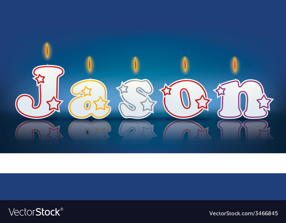 Jason written with burning candles vector | Price: 1 Credit (USD $1)