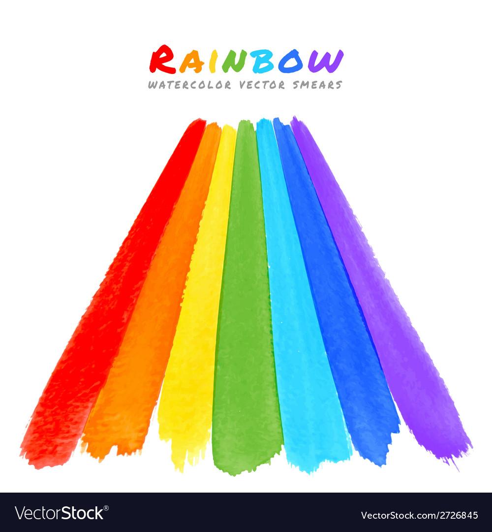 Rainbow watercolor brush smears vector | Price: 1 Credit (USD $1)