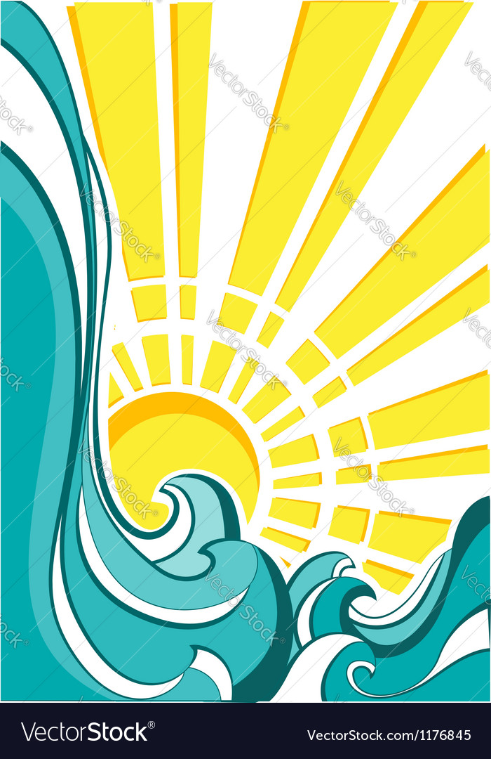 Sea waves of nature poster with yellow sun vector | Price: 1 Credit (USD $1)