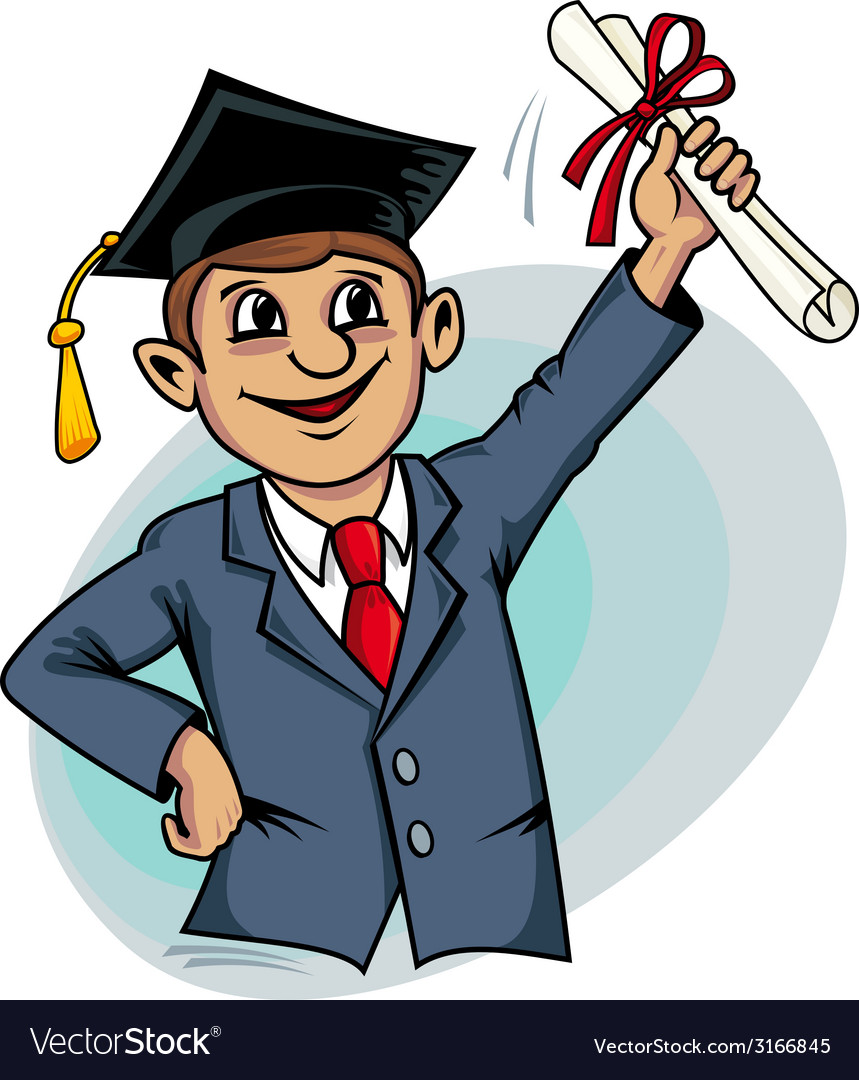 Student with diploma vector | Price: 1 Credit (USD $1)