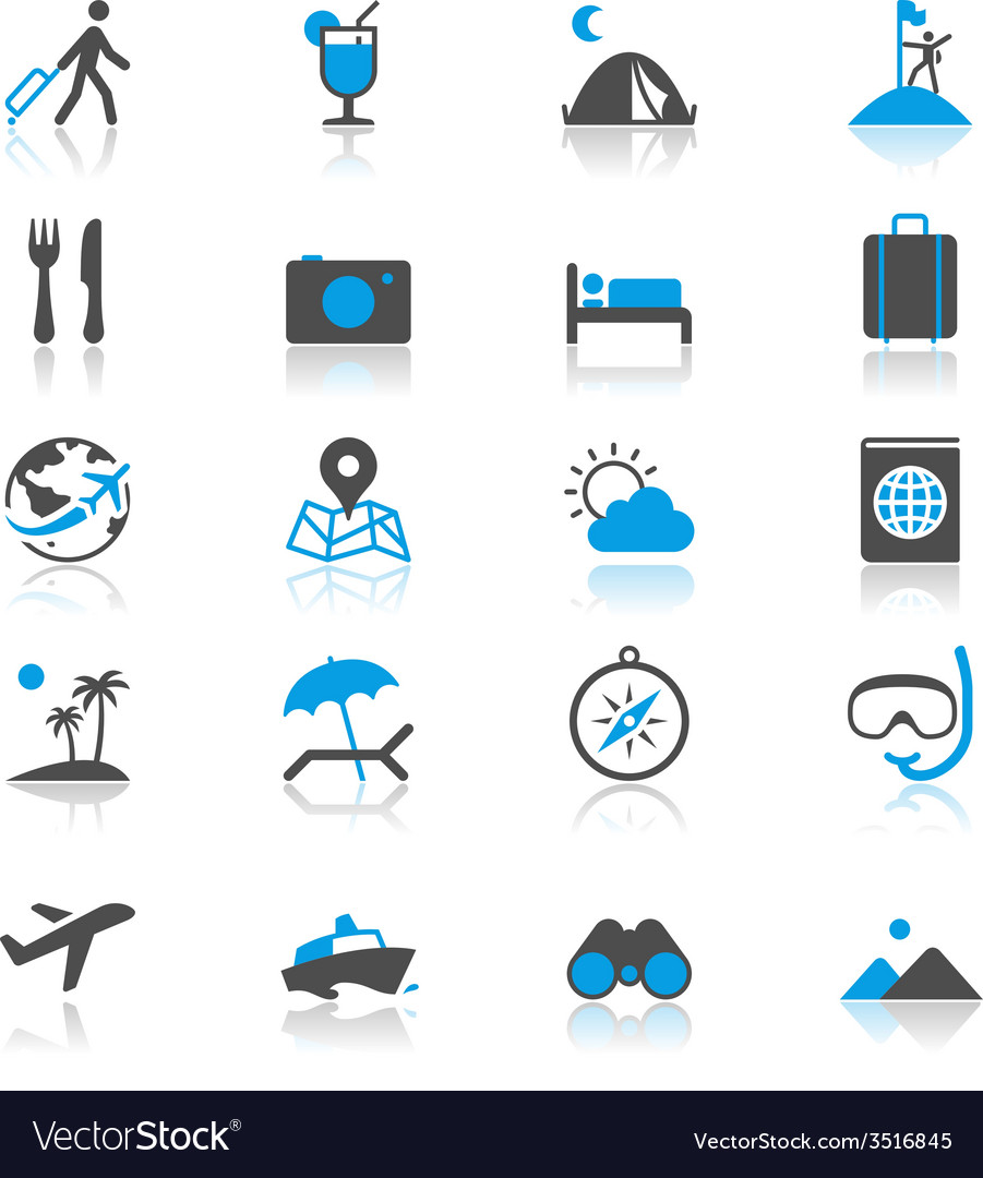 Traveling flat with reflection icons vector