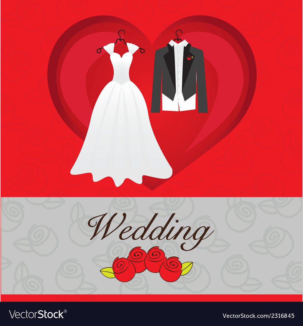 Wedding card wedding dresses on heart vector | Price: 1 Credit (USD $1)