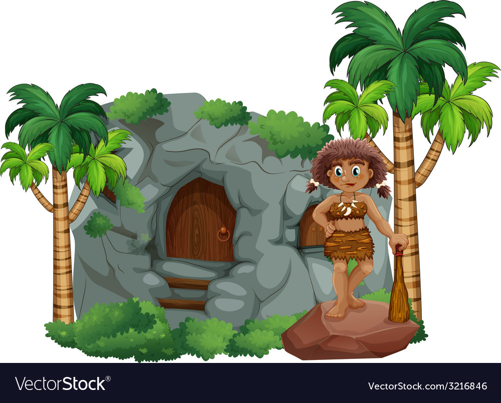 Caveman and cave vector | Price: 3 Credit (USD $3)