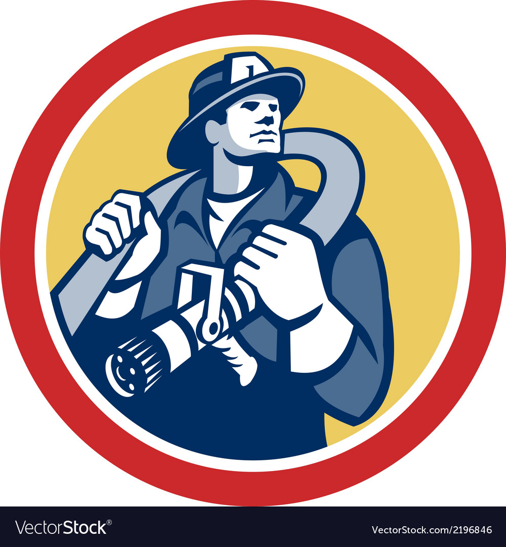 Fireman firefighter holding fire hose retro vector | Price: 1 Credit (USD $1)