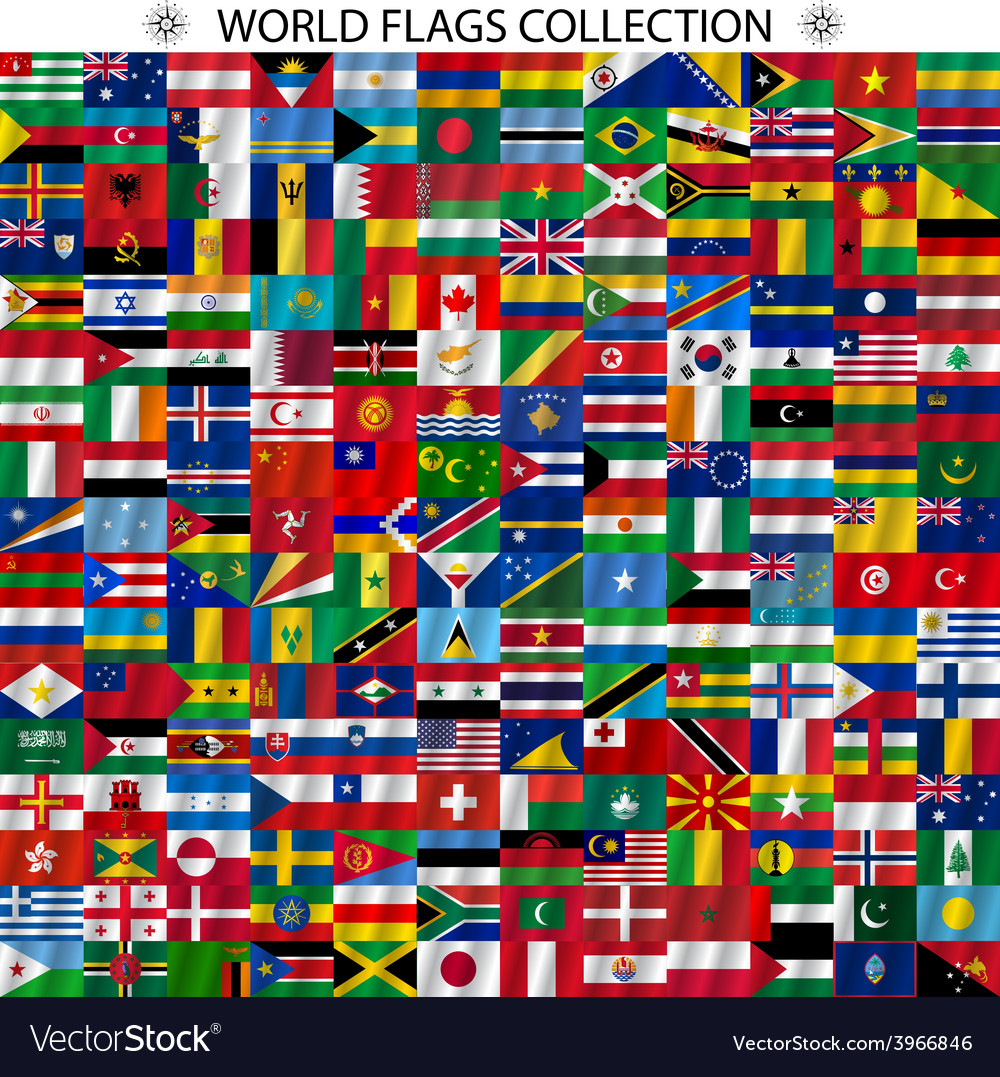 Flags of the world and map on white background vector | Price: 1 Credit (USD $1)