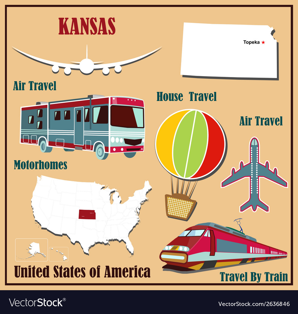 Flat map of kansas vector | Price: 1 Credit (USD $1)