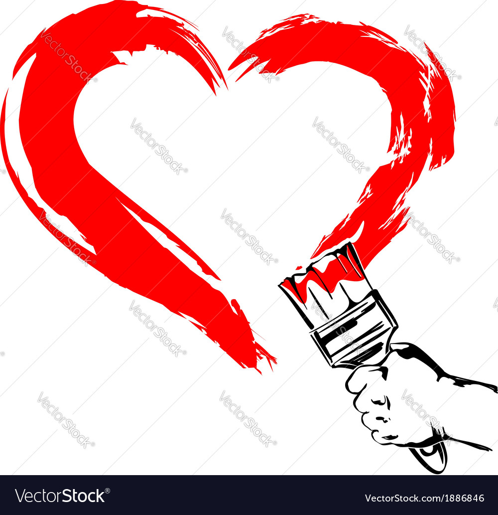 Heart paint brush hand vector | Price: 1 Credit (USD $1)