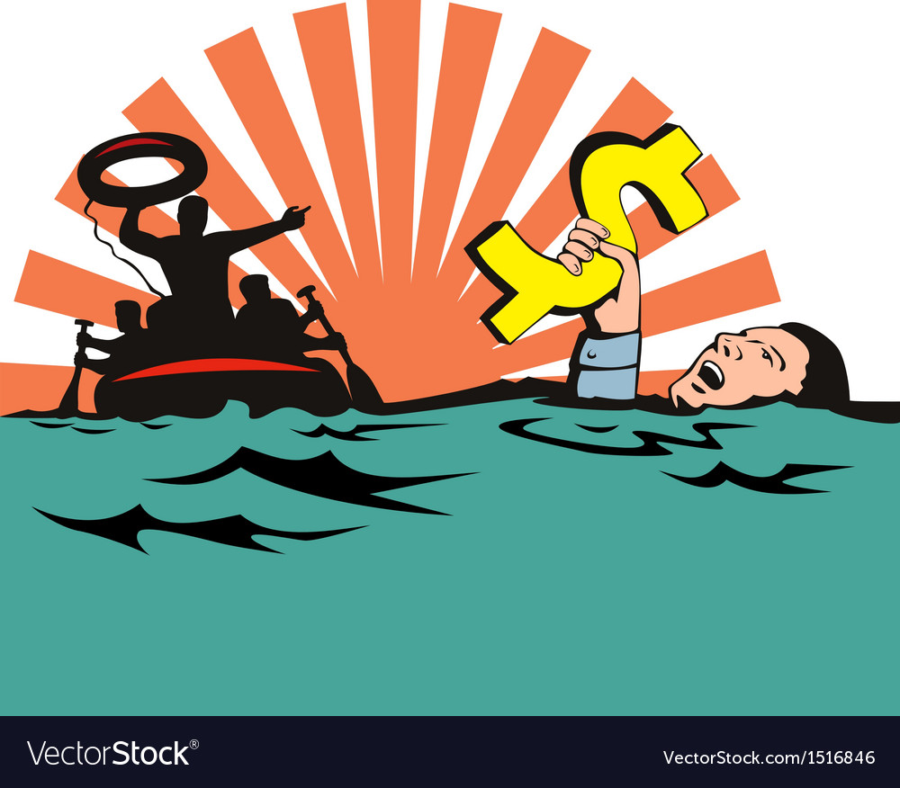 Man sinking dollar sign vector | Price: 1 Credit (USD $1)