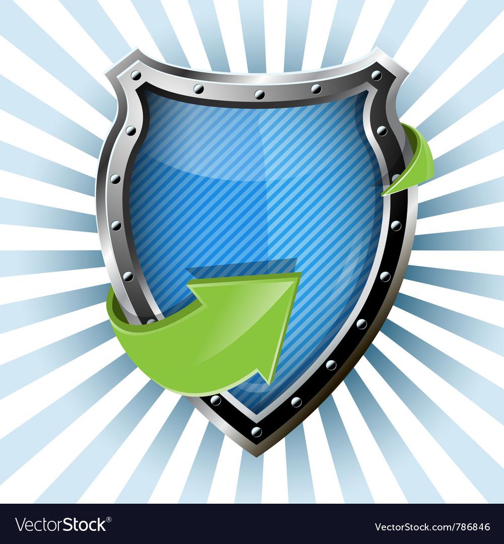 Metallic blue shield vector | Price: 3 Credit (USD $3)
