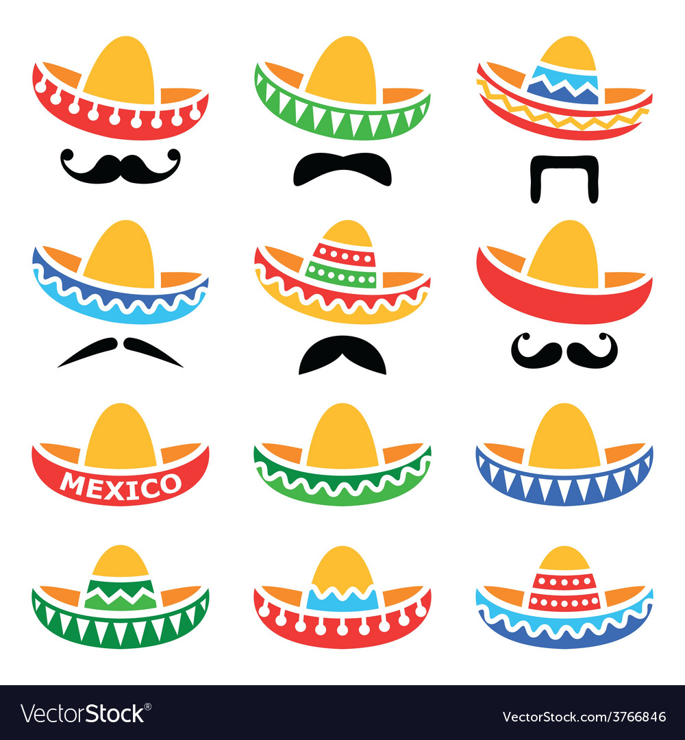Mexican sombrero hat with moustache or mustache vector | Price: 1 Credit (USD $1)
