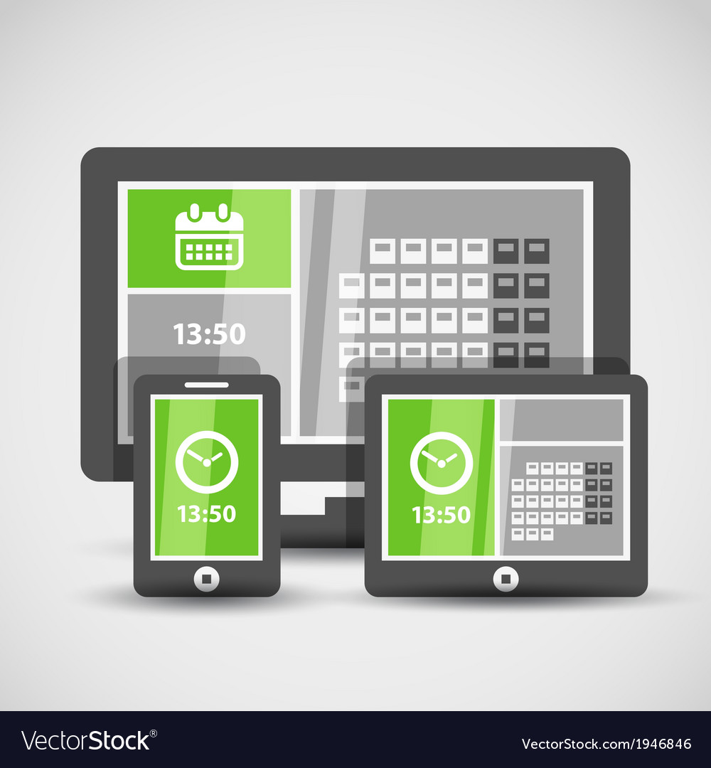 Modern gadgets with abstract tile interface vector | Price: 1 Credit (USD $1)
