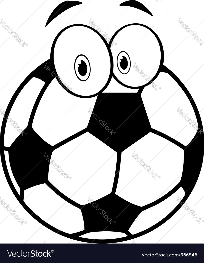 Outlined cartoon soccer ball vector | Price: 1 Credit (USD $1)