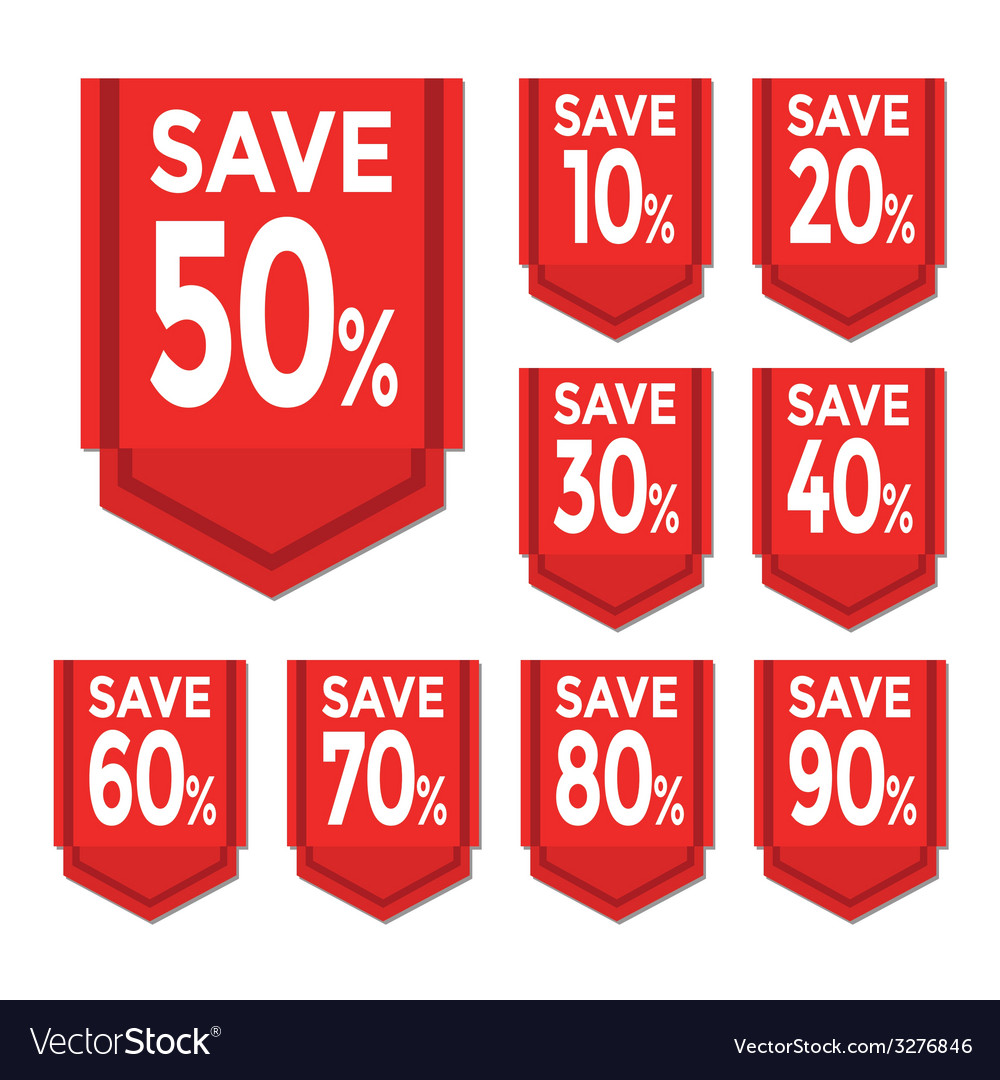 Save percent sticker price tag vector | Price: 1 Credit (USD $1)