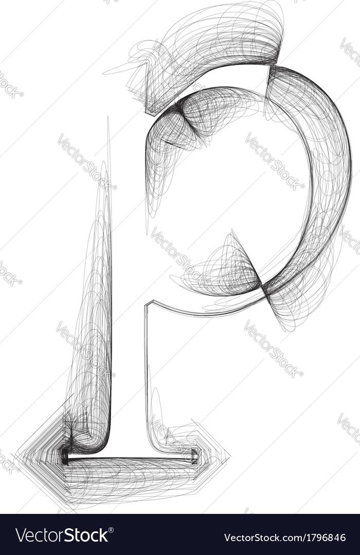 Sketch font letter p vector | Price: 1 Credit (USD $1)
