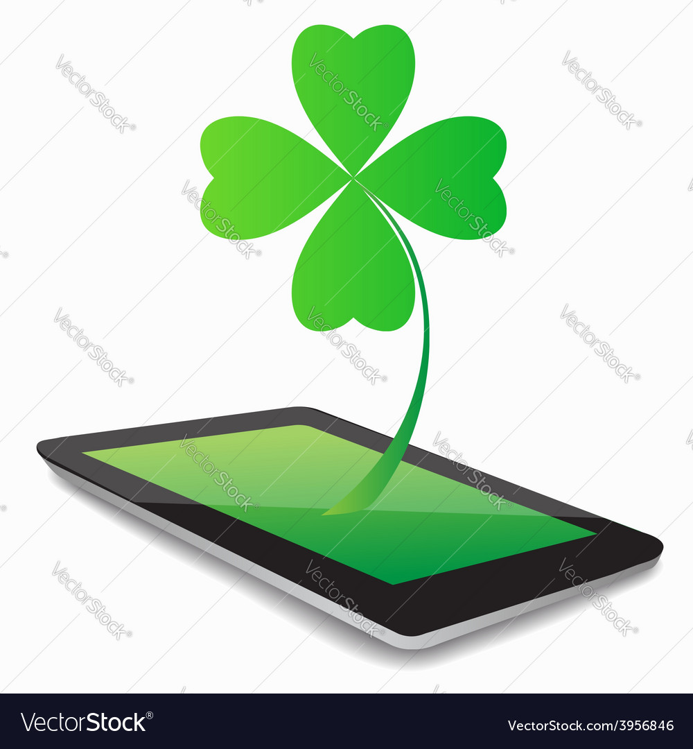 Tablet computer and clover leaf vector | Price: 1 Credit (USD $1)