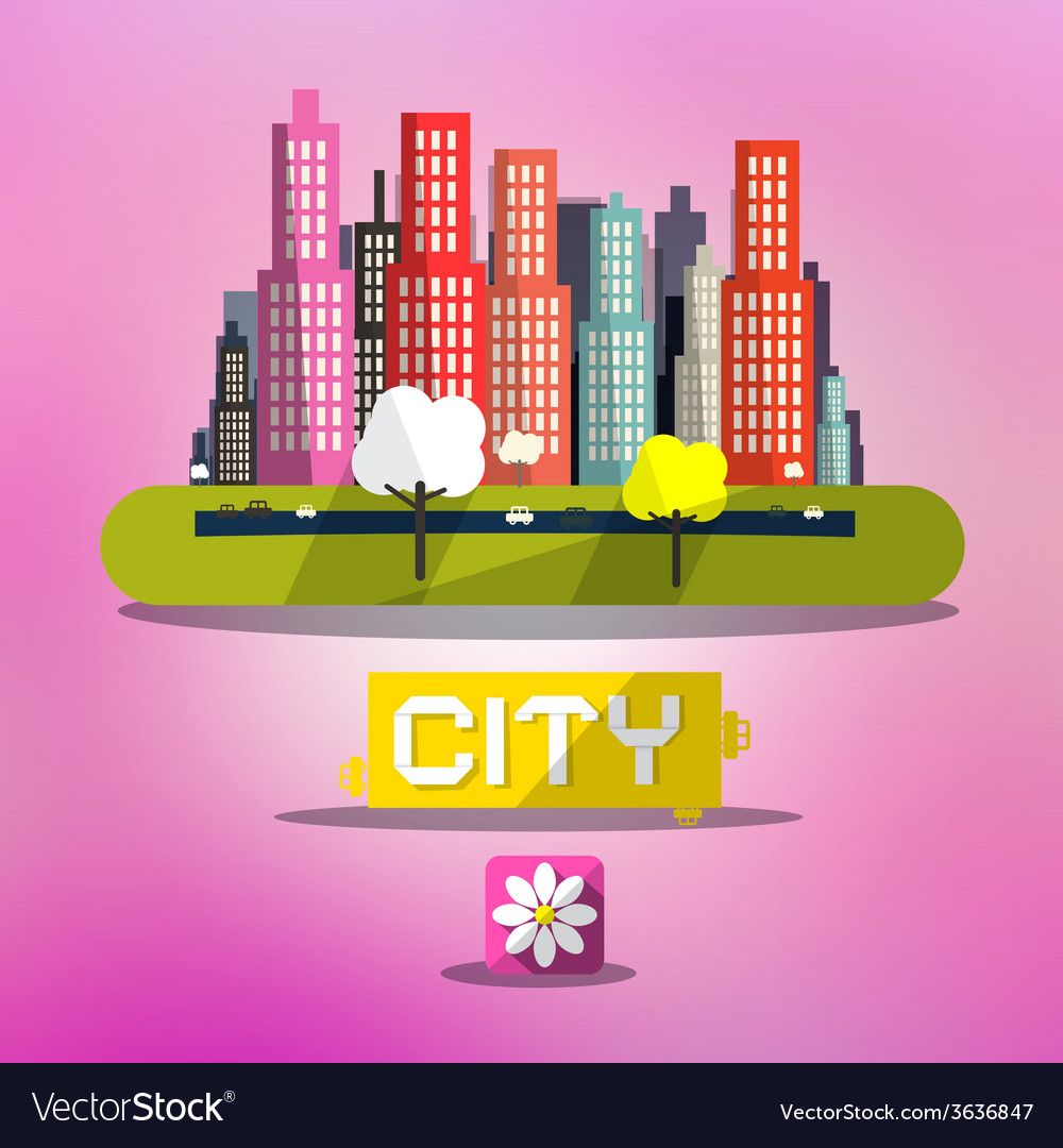 Abstract spring city on pink background vector | Price: 1 Credit (USD $1)