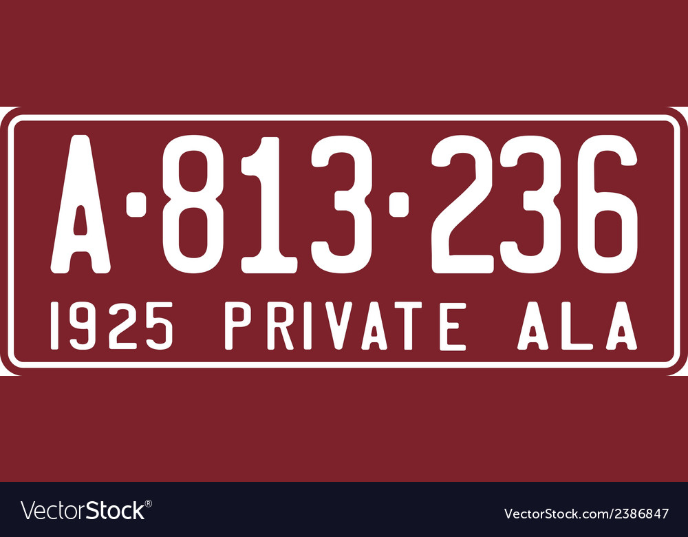 Alabama 1925 license plate vector | Price: 1 Credit (USD $1)