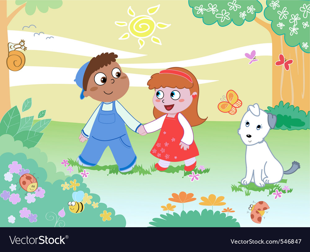 Boy girl and funny animals vector | Price: 1 Credit (USD $1)