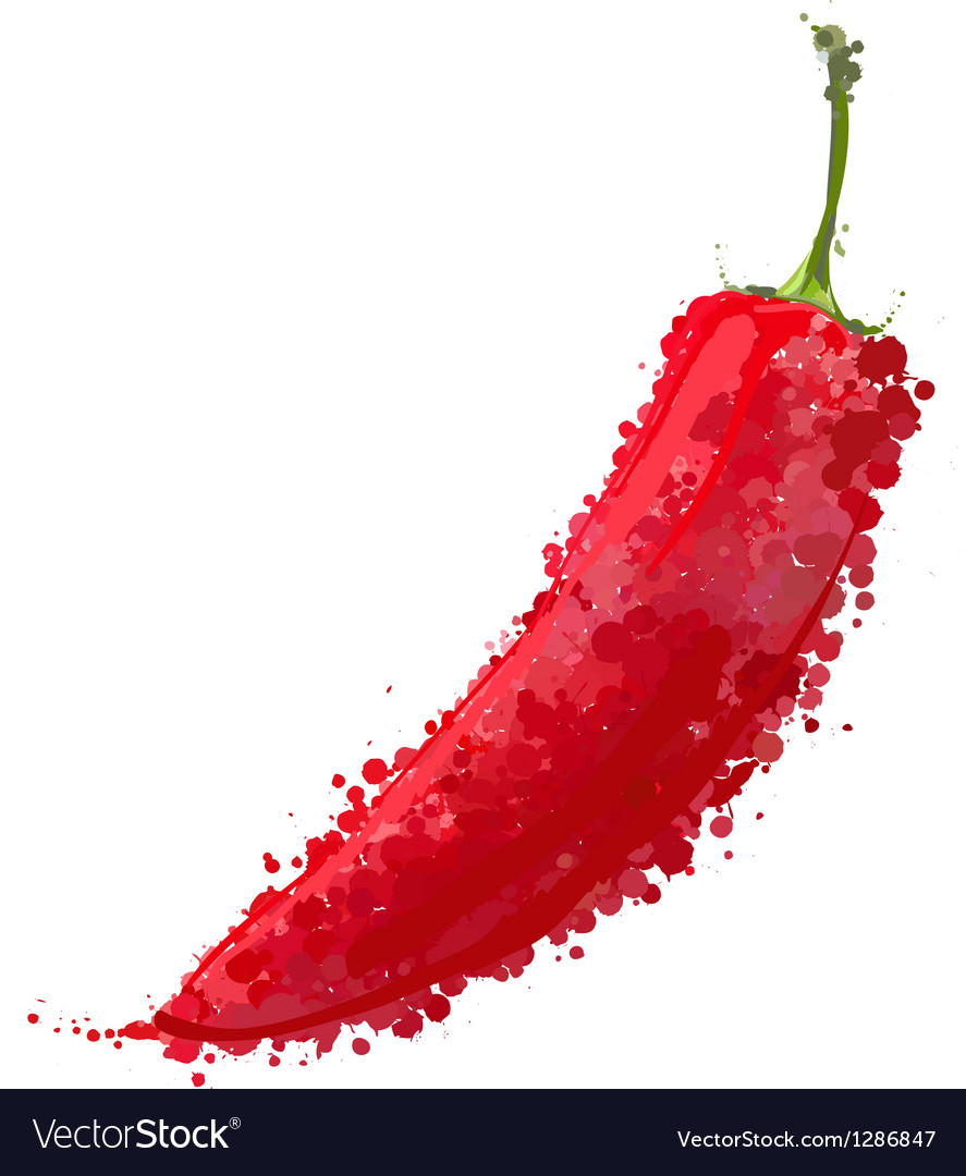 Burning red paprika isolated on white vector | Price: 1 Credit (USD $1)